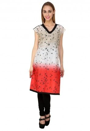 Printed Cotton Tunic In Off White and Red