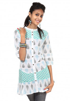 Printed Cotton Tunic in White and Blue