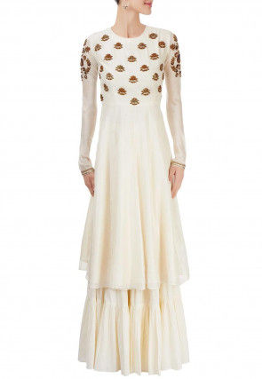 Hand Embroidered Chanderi Silk Long Kurta Set in Cream