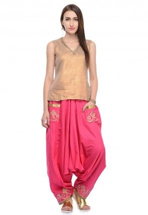 Art Silk Top And Harem Pant In Beige And Pink