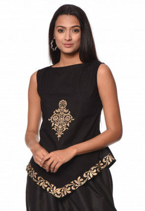 Block Printed Cotton Top in Black