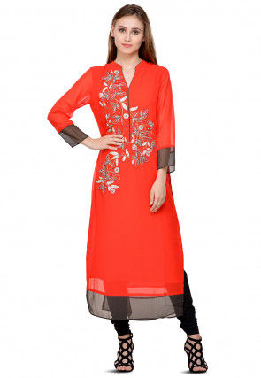 Hand Embroidered Georgette Kurta in Red