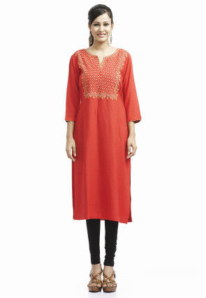 Embroidered Cotton Long Kurta In Rust