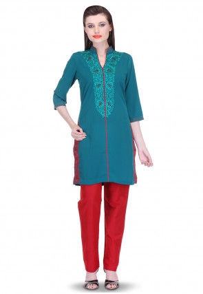 Hand Embroidered Viscose Georgette Kurti Set in Teal Blue