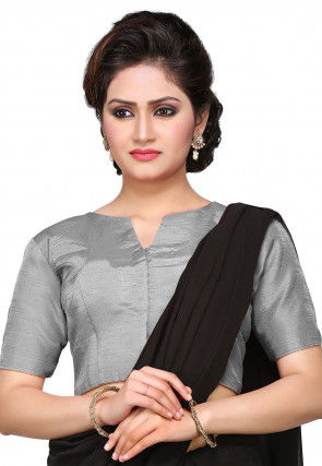 Art Dupion Silk Blouse in Grey