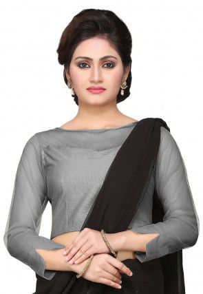 Cotton Silk Blouse in Grey
