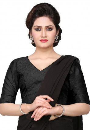 Embroidered Art Dupion Silk Blouse in Black