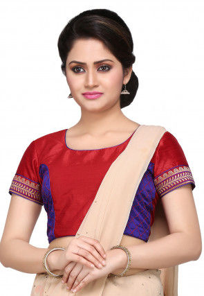Embroidered Art silk Blouse in Red and Blue
