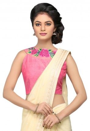 Embroidered Art Silk Blouse in Pink