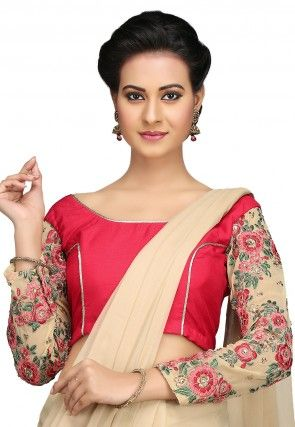 Embroidered Chroma Silk Blouse in Fuchsia and Beige