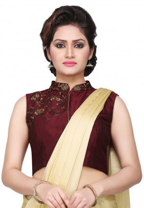 Embroidered Art Dupion Silk Blouse in Wine
