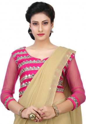 Embroidered Dupion Silk and Net Blouse in Fuchsia