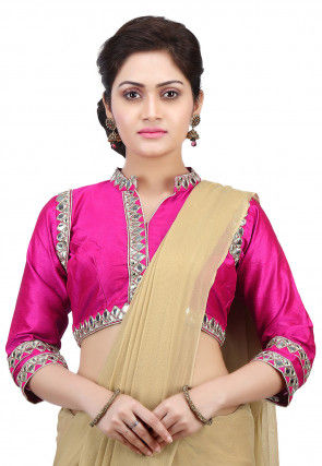 Embroidered Dupion Silk Blouse in Fuchsia