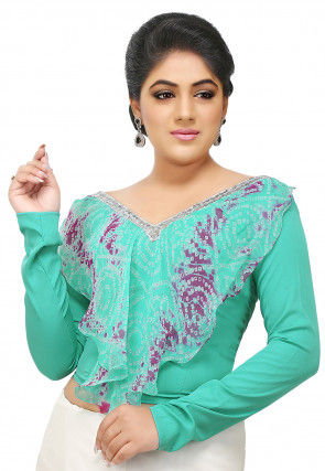 Printed Pure Georgette Blouse in Sea Green