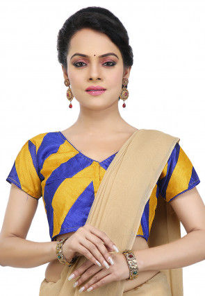 Plain Dupion Silk Blouse in Blue and Yellow
