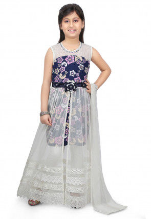 Printed Net and Lycra Abaya Style Suit in Off White and Blue