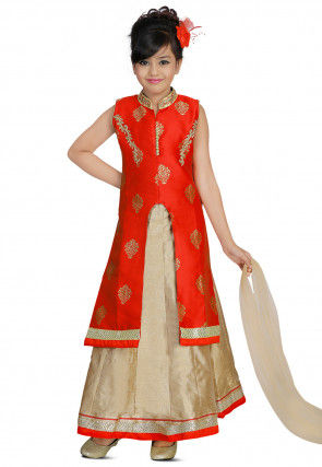 Woven Art Silk Jacquard Jacket Style Lehenga in Red and Beige