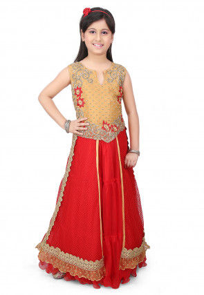Embroidered Net  Gown in Red and Beige