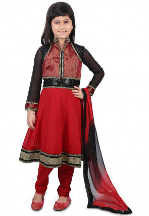 Embroidered Georgette Jacket Style Anarkali Suit in Red