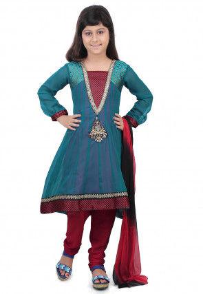 Plain Georgette Anarkali Suit in Teal Blue