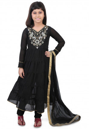 Embroidered Georgette Flared Suit in Black