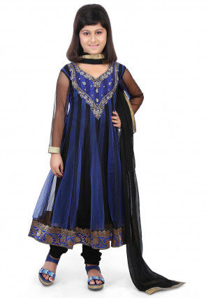 Embroidered Net and Art Silk Anarkali Suit in Black and Blue