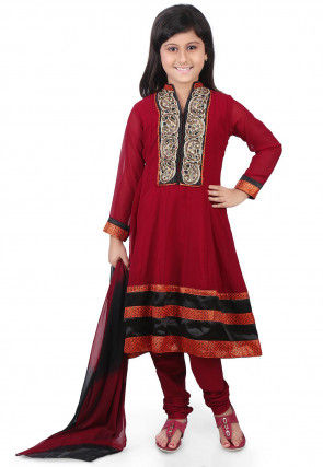 Embroidered Georgette Anarkali Suit in Maroon