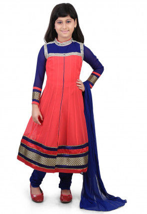 Plain Georgette Anarkali Suit in Coral and Blue