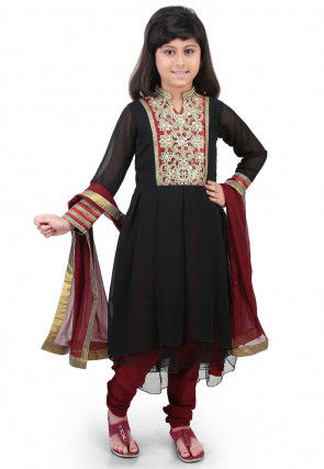 Embroidered Georgette and Net Anarkali Suit in Black