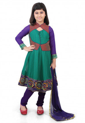 Embroidered Georgette Jacket Style Anarkali Suit in Teal Green