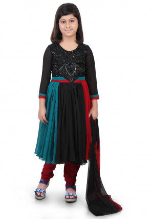 Embroidered Georgette Flared Suit in Multicolor