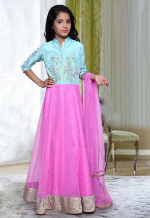 Embroidered Net Abaya Style Suit in Pink and Sky Blue