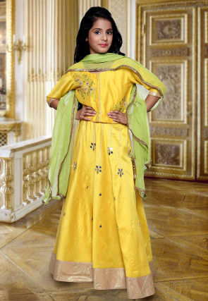 Embroidered Cotton Silk Circular Lehenga in Yellow