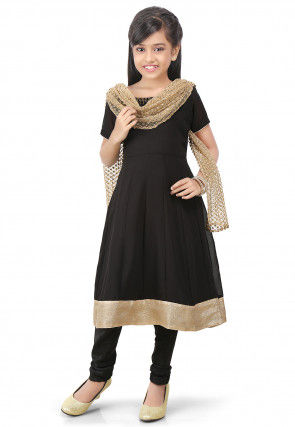 Plain Georgette Anarkali Suit in Black
