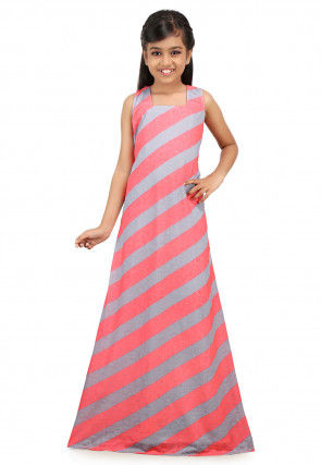 Printed Lycra Gown in Pink and Grey