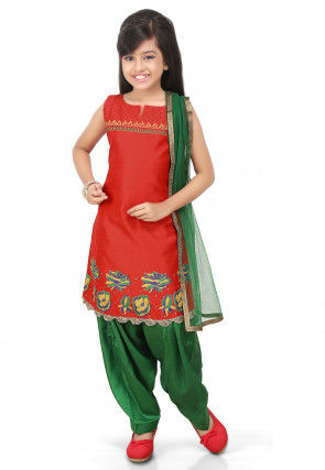 Printed Art Dupion Silk Straight Suit in Red