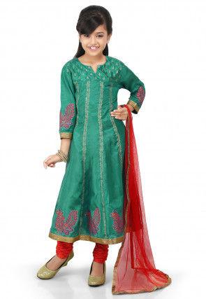 Block Printed Shantoon Anarkali Suit in Teal Green