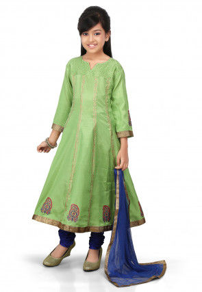 Block Printed Shantoon Anarkali Suit in Green