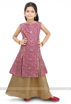 Embroidered Georgette Jacket Style Lehenga in Pink