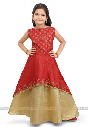 Block Printed Art Silk Jacket Style Lehenga in Red