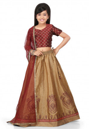 Golden Printed Art Dupion Silk Lehenga in Beige