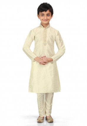 Plain Art Dupion Silk Kurta Set in Cream
