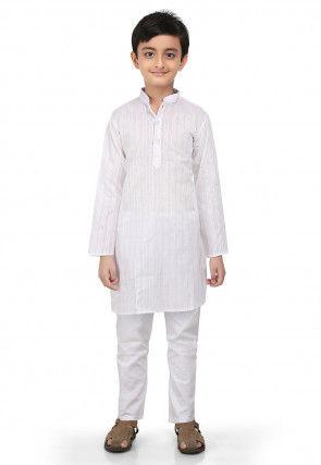 Woven Cotton Jacquard Kurta Set in White