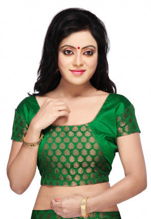 Chanderi Silk Brocade Blouse in Green