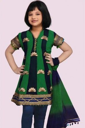 Embroidered Georgette Salwar Set in Green and Navy Blue