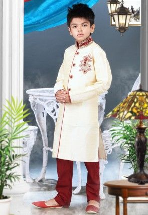 Embroidered Art Silk Sherwani Set in Cream