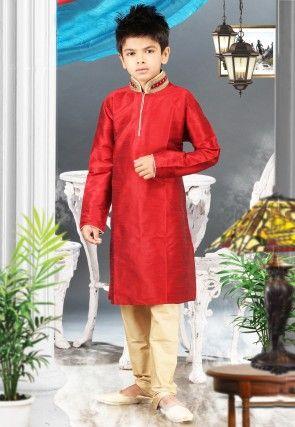 Art Silk Kurta Pyjama Set in Red