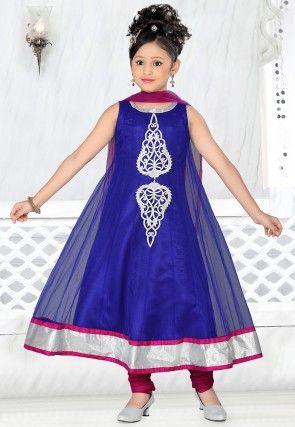 Net Salwar Set in Blue