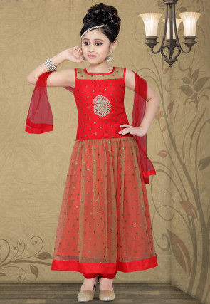Embroidered Georgette Salwar Set in Red and Beige