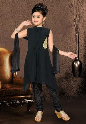 Georgette Asymmetric Salwar Set in Black